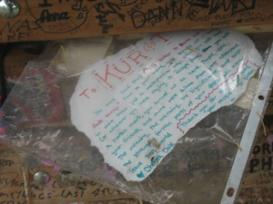 Kurt's bench is basically the grunge version of the wailing wall...